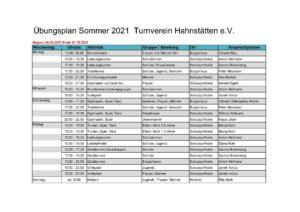 Übungsplan Sommer 2021